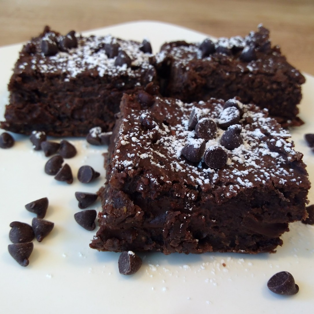 Photograph of gluten-free, dairy-free, egg-free bean brownies made with this recipe.