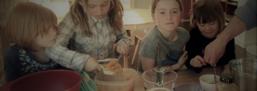 Kids baking pumpkin cookies at a cooking class in Calgary