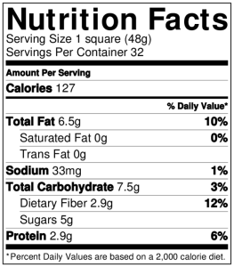 Nutrition value chart for gluten-free bean brownies